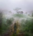 Амбар на заброшенном хуторе, в котором хранится дирижабль