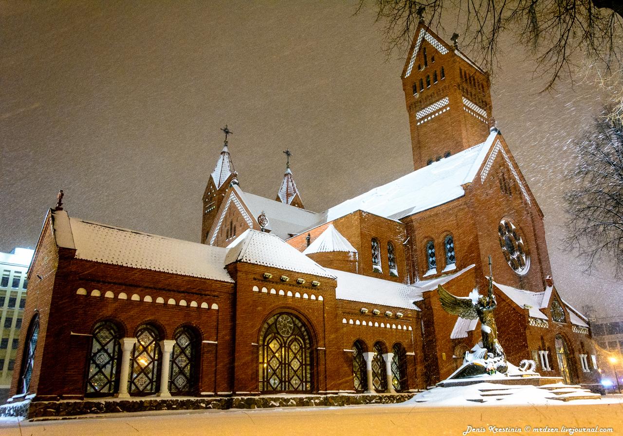 Минск снежный. Костел Святого Симеона и Елены