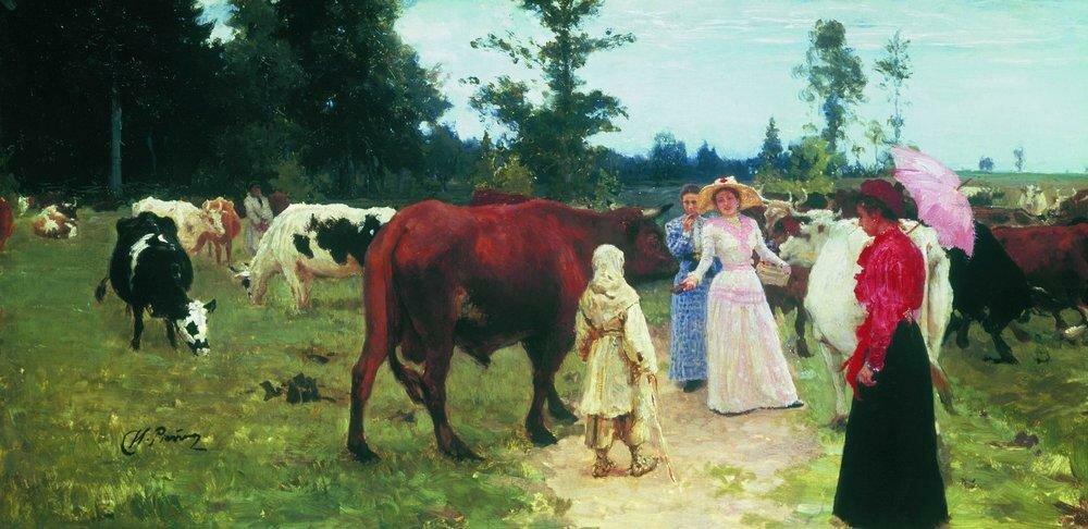 Барышни среди стада коров.jpg