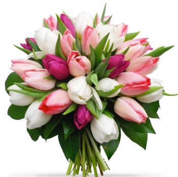 круглий букет різнокольорових тюльпанів