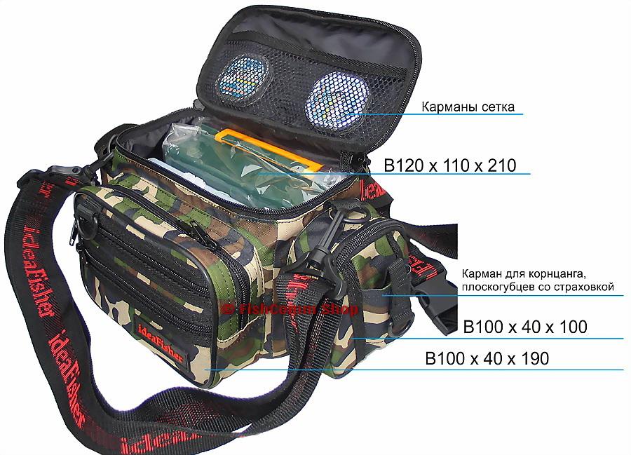 ideaFisher Stakan 100 Лайтовик шейно-поясная сумка с держателем удилищ