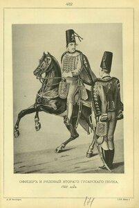482. ОФИЦЕР и РЯДОВОЙ Второго Гусарского полка, 1762 года.