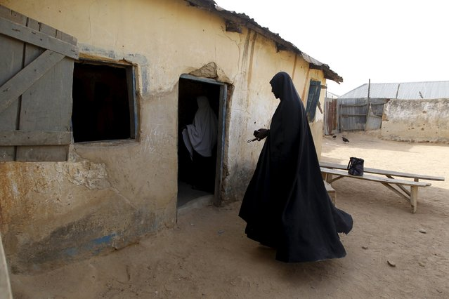 A Shi'ite woman is seen going into a classroom at a local Islamic school in Zaria, Kaduna state