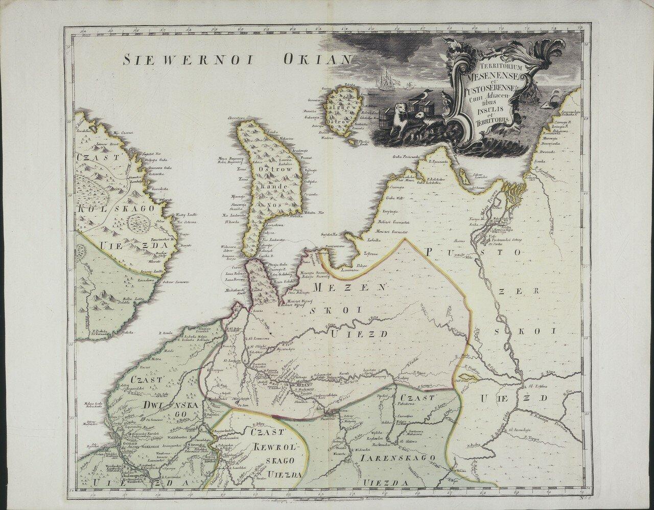 1745. Карта Мезенского и Пустозерского уездов