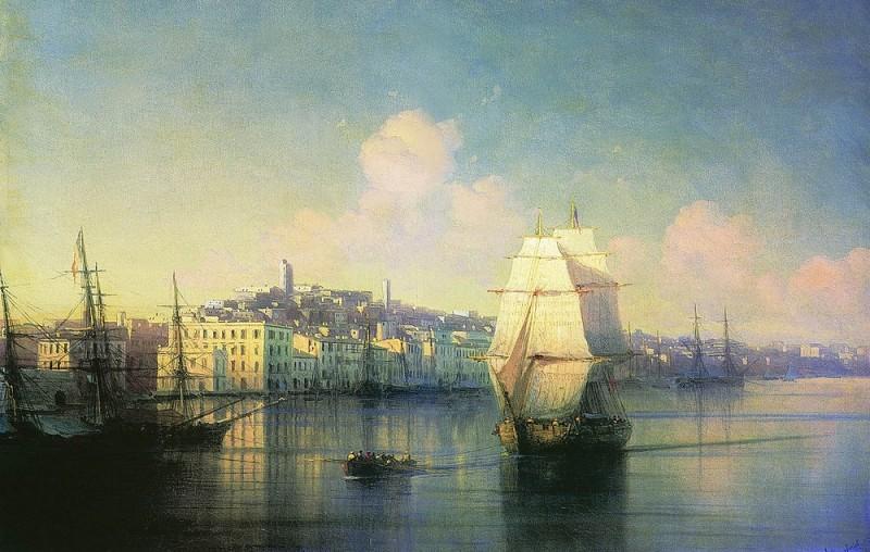 Вид приморского города 1877