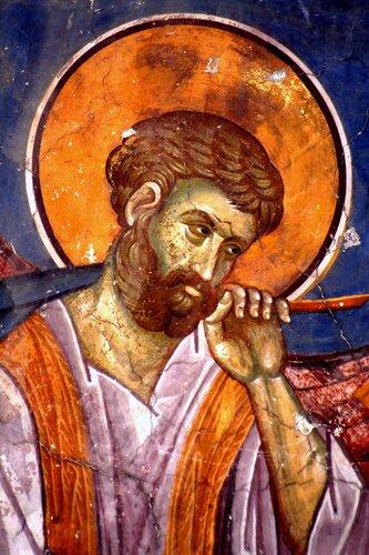 Святой Апостол и Евангелист Марк. Фреска церкви Св. Димитрия в Пече, Косово, Сербия. XIV век.