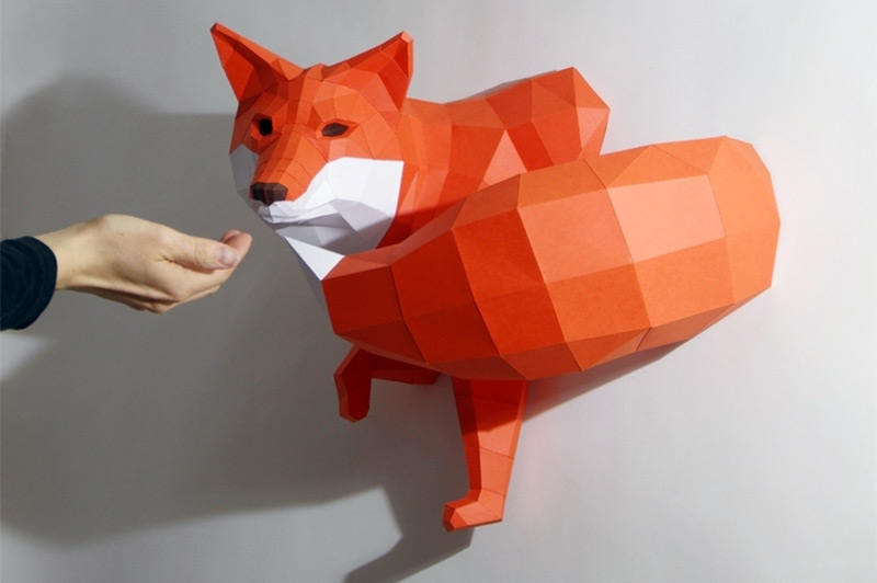 DIY Geometric Paper Animal Sculptures by Paperwolf
