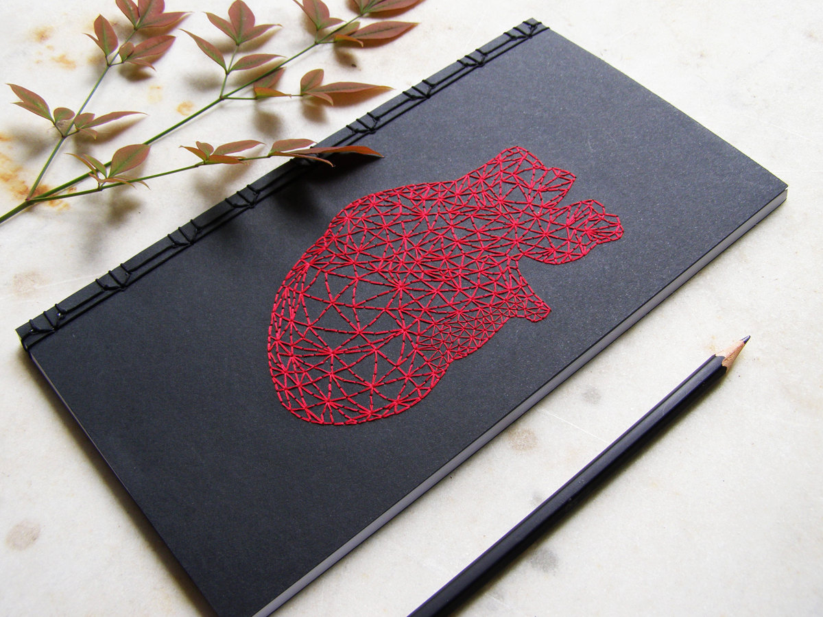 Notebooks Adorned with Hand-embroidered Blood Vessels, Insects, and Geometric Patterns