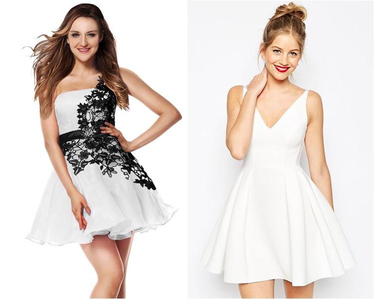 Белые короткие модные платья