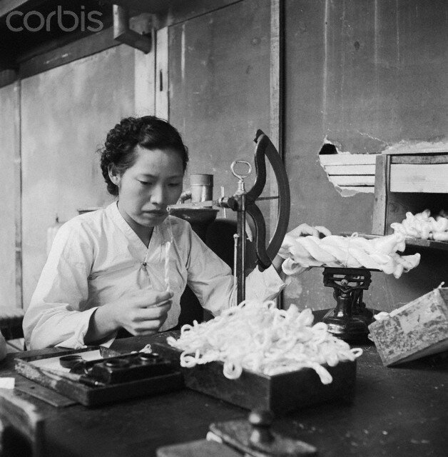 Woman Weighing Skeins of Silk Thread