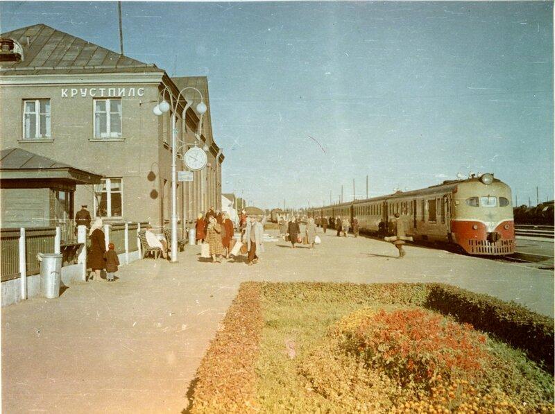1950е Дизель поезд ДП-07, СССР, станция Крустпилс2.jpg
