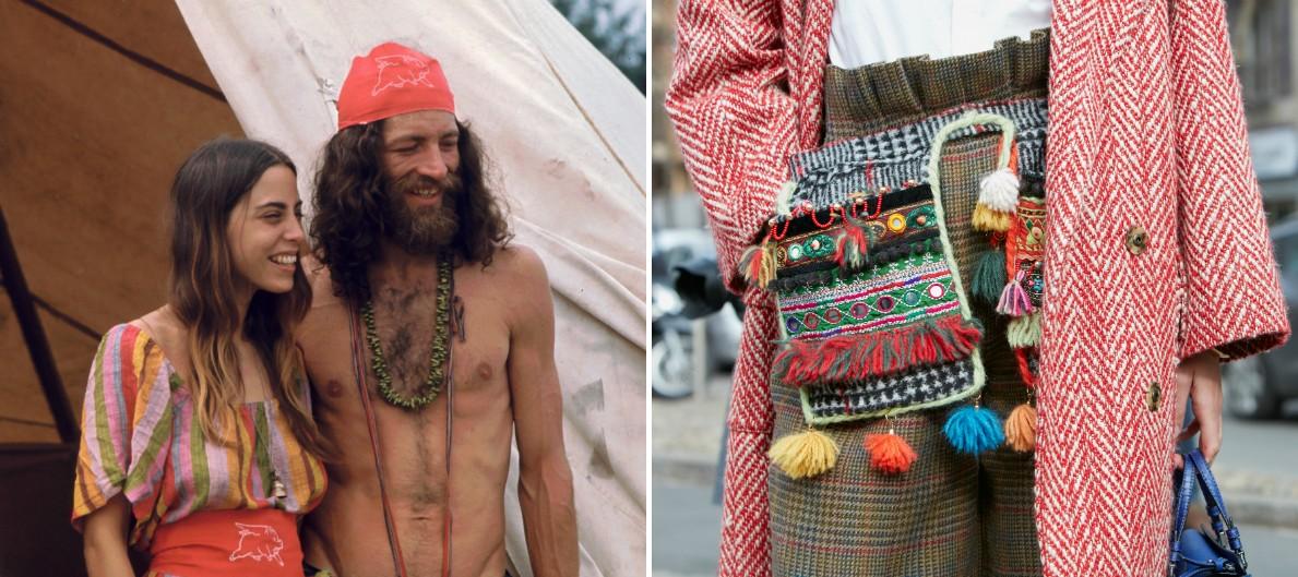 Пара на рок-фестивале около своей палатки, поставленной на время концерта. / Неделя моды в Милане, 2