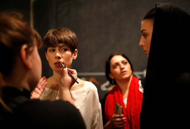 Models get ready backstage at the Tbilisi Fashion Week in Tbilisi, Georgia, October 21, 2016. (Photo