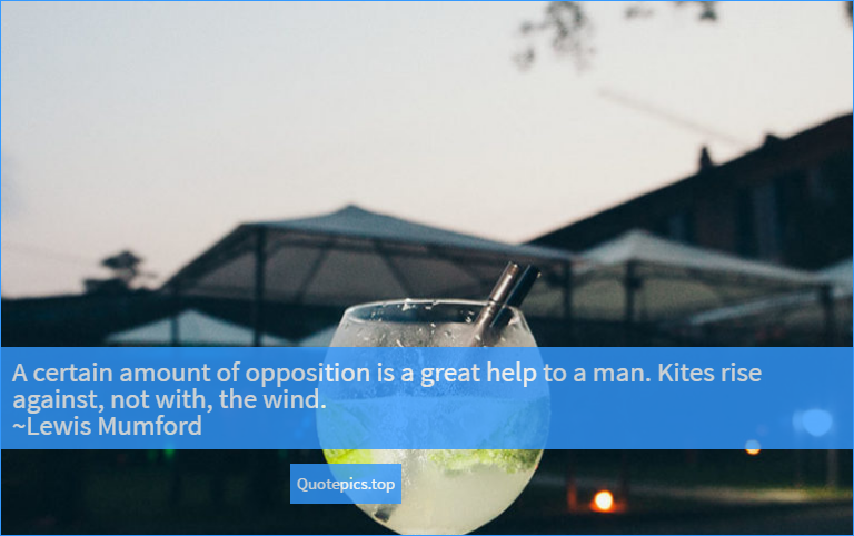A certain amount of opposition is a great help to a man. Kites rise against, not with, the wind. ~Lewis Mumford