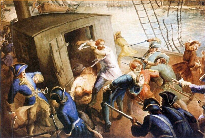 Картина художника В.О. Мейера. Подвиг русских лоцманов Рябова и Борисова в бою со шведами в 1702 году...jpg