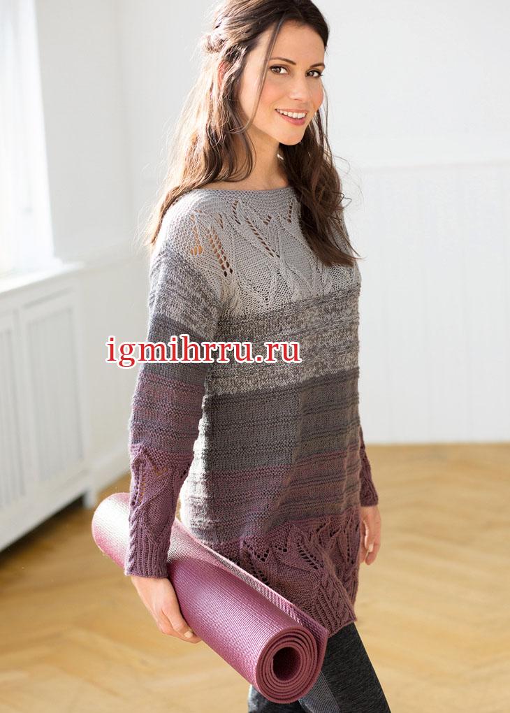 Теплый пуловер с цветочными бордюрами. Вязание спицами