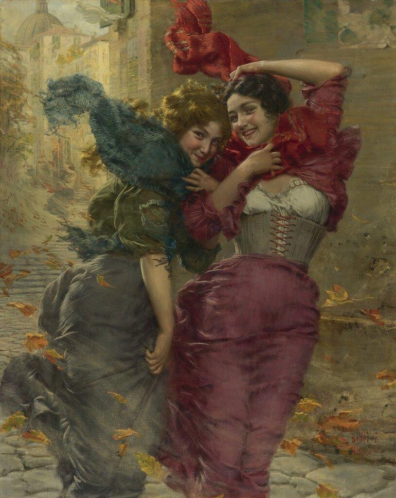 Gaetano Bellei, 1857-1922. Ветренный день. 142.8 х 113.6 см. Частная коллекция.jpg