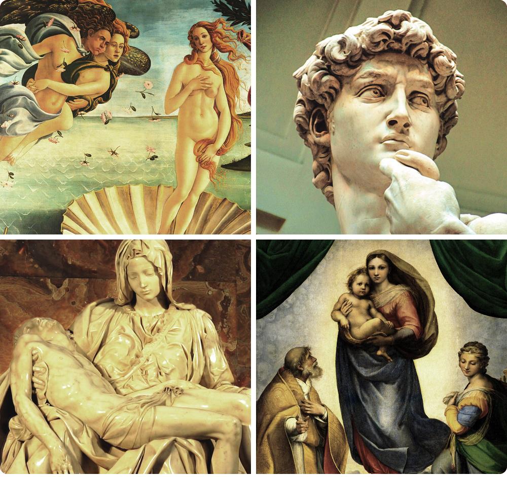 Именно вовремена эпохи Возрождения позировала тасамая загадочная Джоконда, аМикеланджело создавал