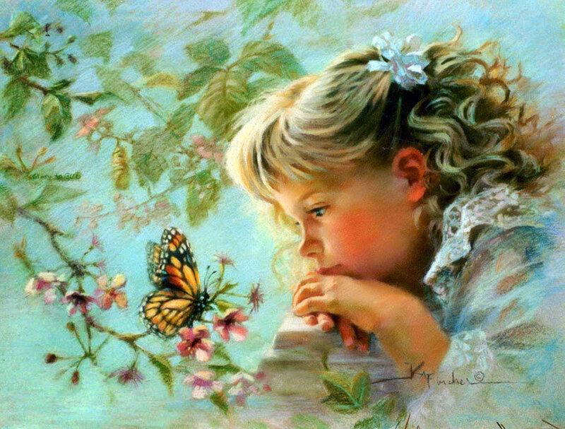 Дети - это счастье, дети - это радость, дети - это в жизни свежий ветерок. Художница Kathy Andrews Fincher.