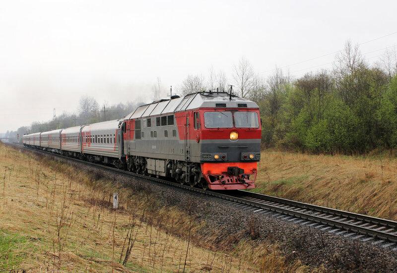 ТЭП70-0244 с поездом Питер - Смоленск на перегоне Ржев-Балтийский - Рождествено