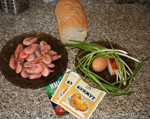 продукты для тостов с креветками