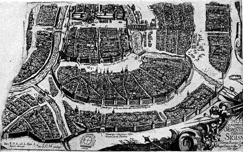 Рисунок 19. Часть Скородома и других стен на плане Москвы 1610 года.