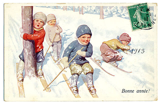 Старые открытки дети зима, рождения открытки