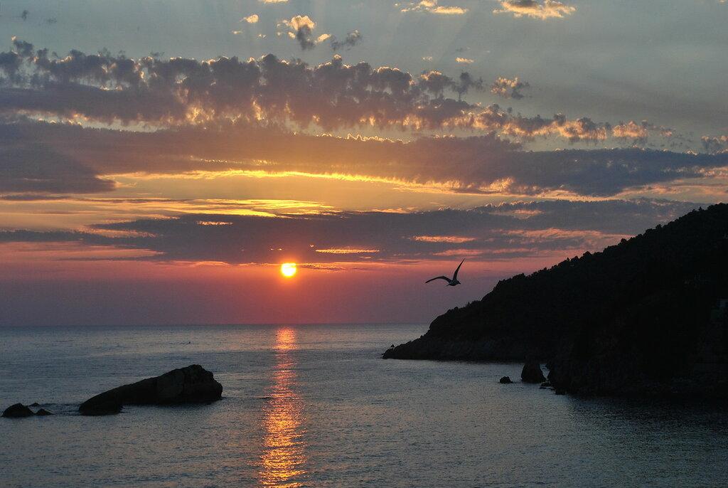 Pôr do sol sobre o mar Adriático