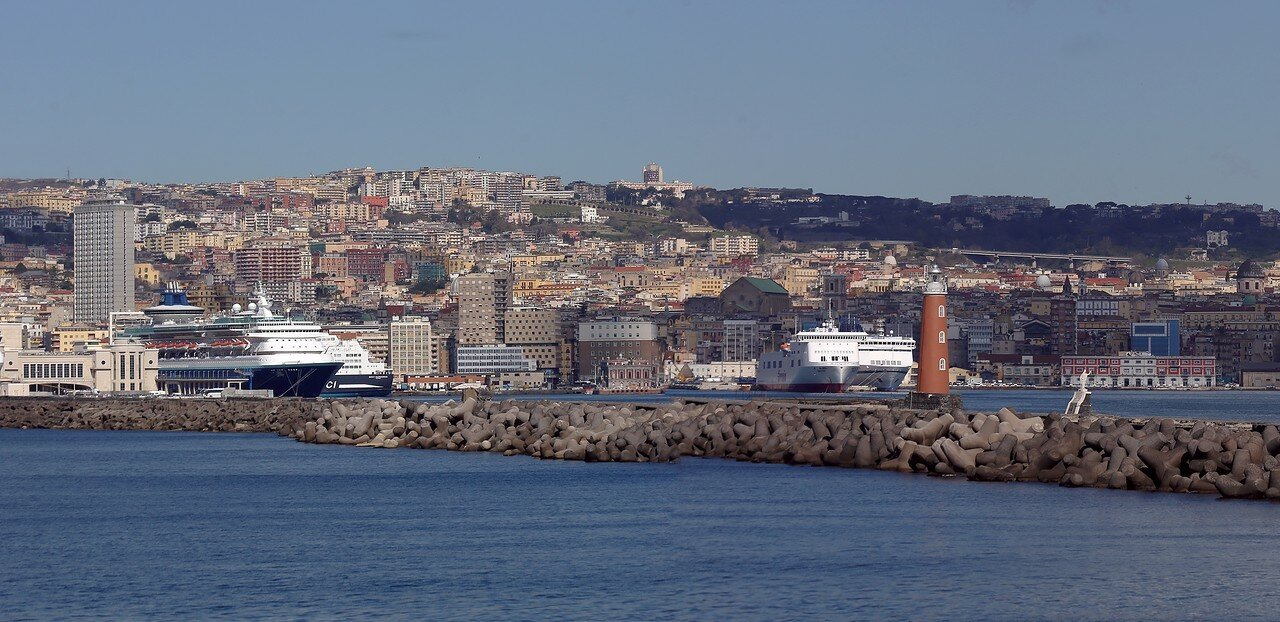 Naples. The breakwater of San Vincenzo