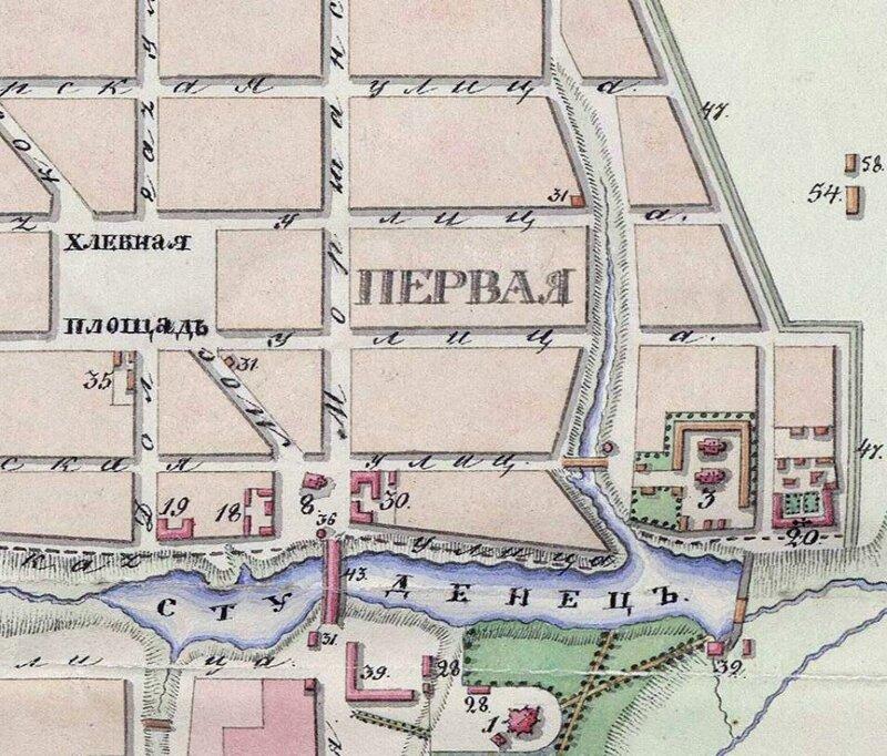 План Тамбова 1832 года. Фрагмент