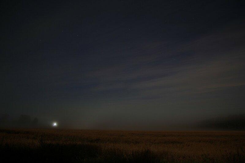Туман поглотил поля и деревню, и только Большая Медведица светит на небе