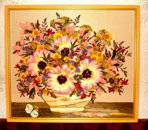 Картины своими руками сухих цветов фото