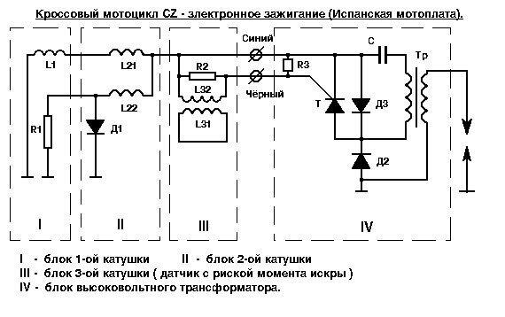 """Принципиальная схема электронного зажигания кроссового мотоцикла  """"CZ """".  В начало.  На страницу  """"Принципиальные схемы..."""