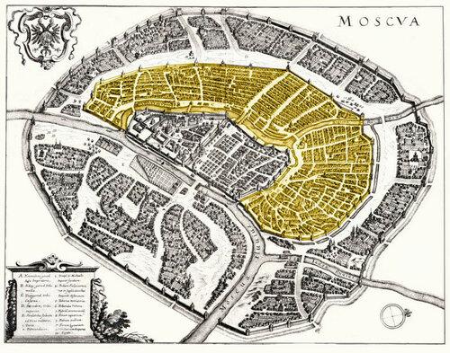 Белый город (выделен цветом) на карте Москвы Меттеуса Мериана.1638.