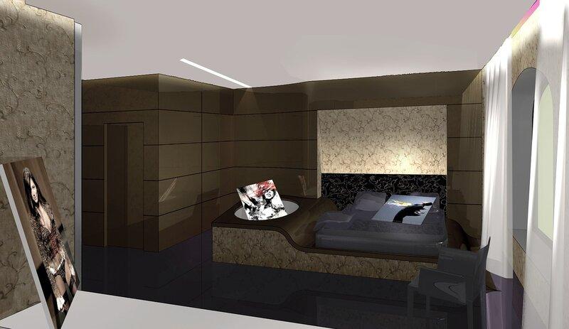 Мягкий отраженный свет преломляется гламурным экраном в изголовье кровати. наполняя комнату приятным свечением. Встроенные в потолок светильники и световые ниши порадуют постояльцев мягким свечением, без раздражающего воздействия на влюбленные глазки. светло-серая современная мебель контрастирует на фоне тёмных деревянных панелей стен и однородного серого пола.