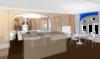 Интерьер японской кухни доготовочной и барной стойки. Столовая и гостиная с камином. Жилой дом, коттедж, особняк.