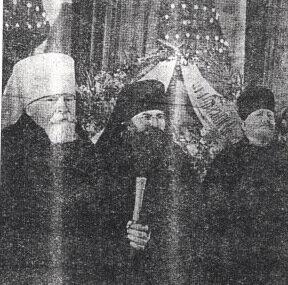 Делегация Русской Православной Церкви перед возложением венка И.В.Сталину»