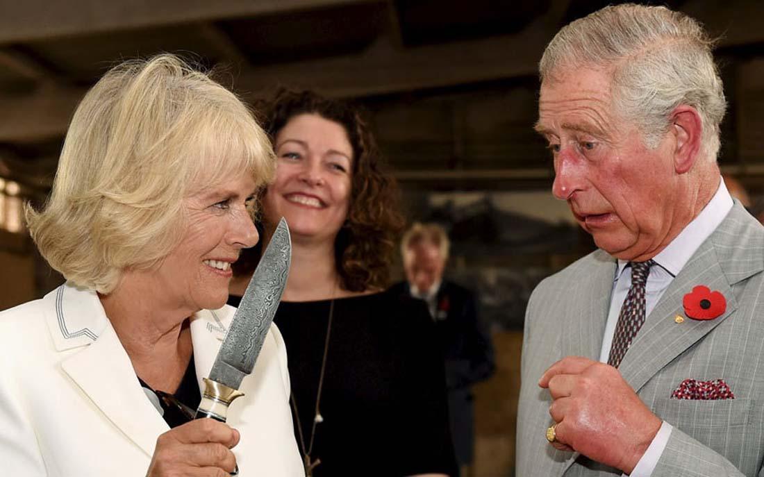 Принц Чарльз нервно смотрит на Камиллу, герцогиню Корнуольскую. Винодельческое хозяйство, Сеппельфильд, долина Баросса, Южная Австралия