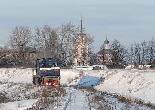 ТГМ6А Скопинского ППЖТ на подходе к мосту через р.Келец