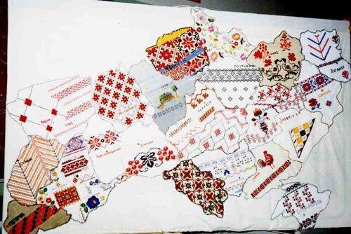 карта Украины, вышивка