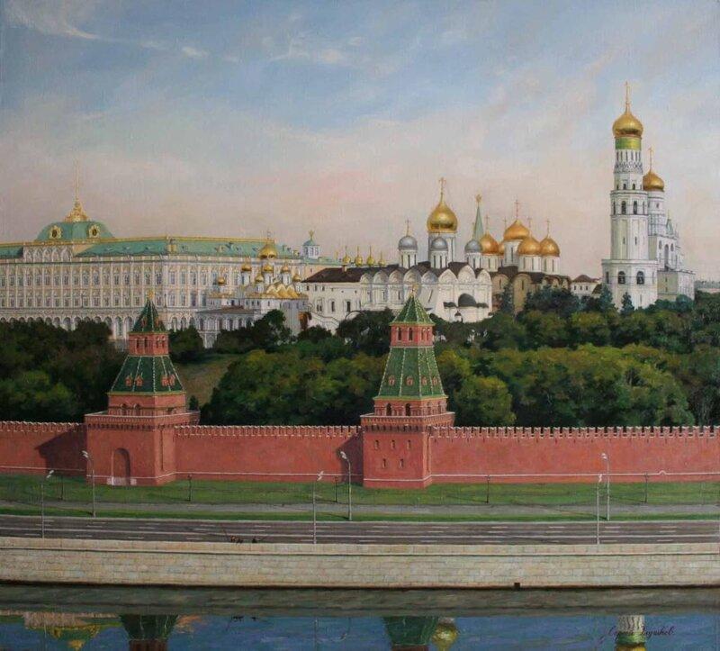 5.Сергей Глушков. Кремль утром.х-м.88х97. 2007г.(этюд).