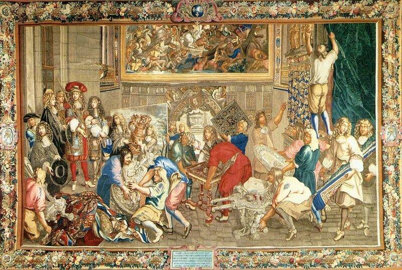 Шарль Лебрен.  Людовик XIV посещает мануфактуру Гобеленов. Ковер. Между 1663 и 1675. Париж, музей Гобеленов.