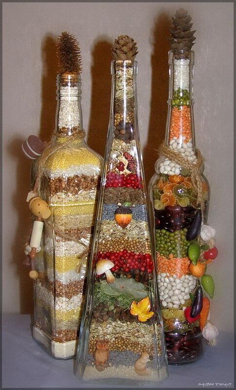 Бутылки декоративные своими руками фото