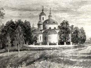 Так выглядел храм в селе Рябчи, построенный в 1822 году.Фотография картины рябчинского художника-самоучки Давыдова.