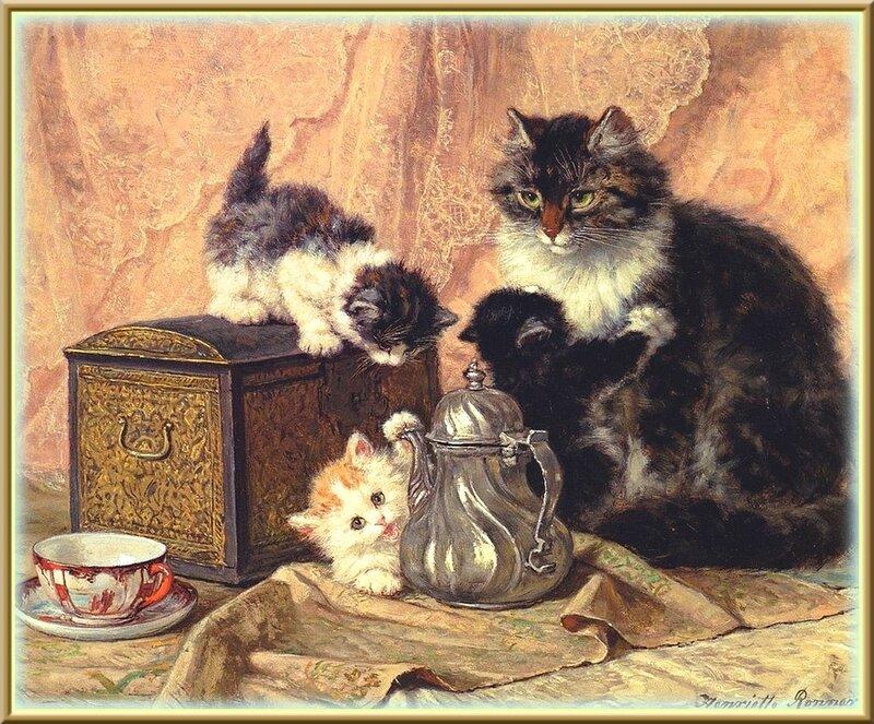 """""""ЧАЙНАЯ     КОШАЧЬЯ     ЦЕРЕМОНИЯ"""".   Художник   Henriette Ronner-Knip (1821-1909) ."""