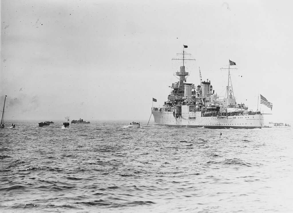 USS INDIANAPOLIS (CA-35) With President Franklin D. Roosevelt aboard, awaits the arrival of the fleet for the presidential fleet review in New York, 31 May 1934
