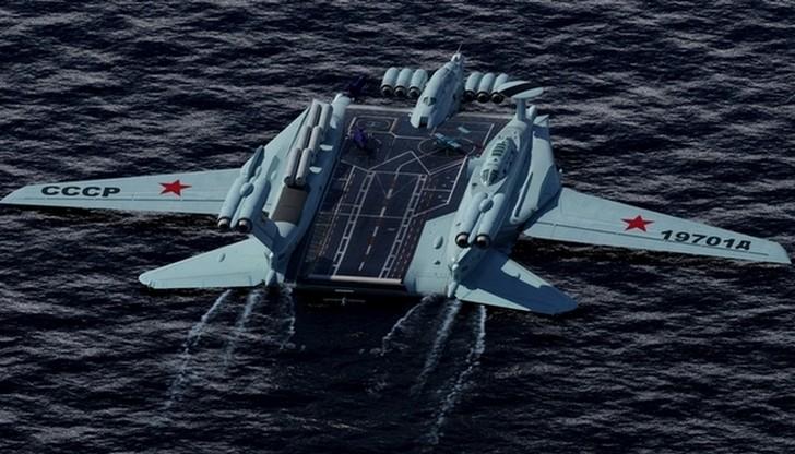 Экраноплан с истребителями на борту Сейчас уже никто не скажет, почему подобная идея не получил