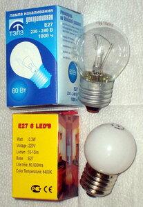 Лампа накаливания и светодиодная лампа