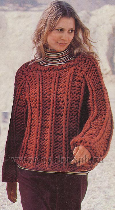 пуловер крупной вязки с рукавом реглан.