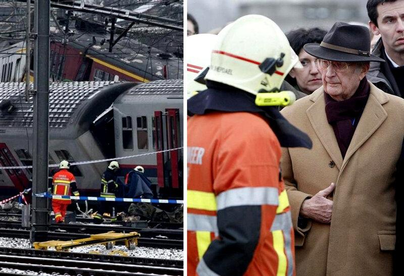 На месте столкновения двух поездов в Бельгии, 15 февраля 2010 года.